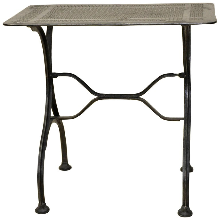 1930s Vintage Italian Stripped Metal Garden Table For Sale