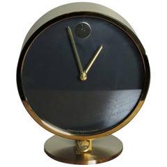 Howard Miller Mid-Century Modern W. German Horwitt Brass Desk Clock