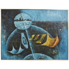 A. Smith Abstract Sci Fi Painting in Bright Blue & Yellow, circa 1960