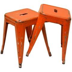 1940s Xavier Pauchard Pair of Model H45 Orange Enamel Metal Tolix Stools