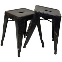 1940s Xavier Pauchard Pair of Blue Navy Metal Tolix Stools for French Air Force