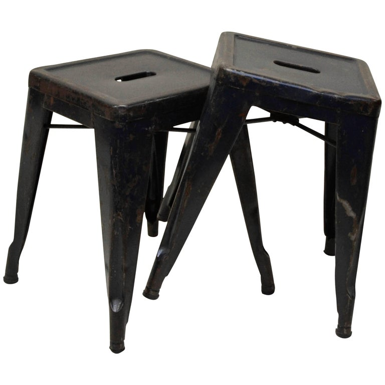 1940s Xavier Pauchard Pair of Blue Navy Metal Tolix Stools for French Air Force For Sale