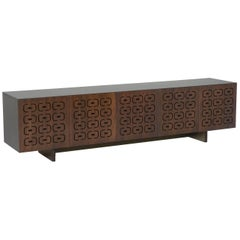 Ipanema Brazilian Contemporary Graphic Pattern Cut Wood Sideboard by Lattoog