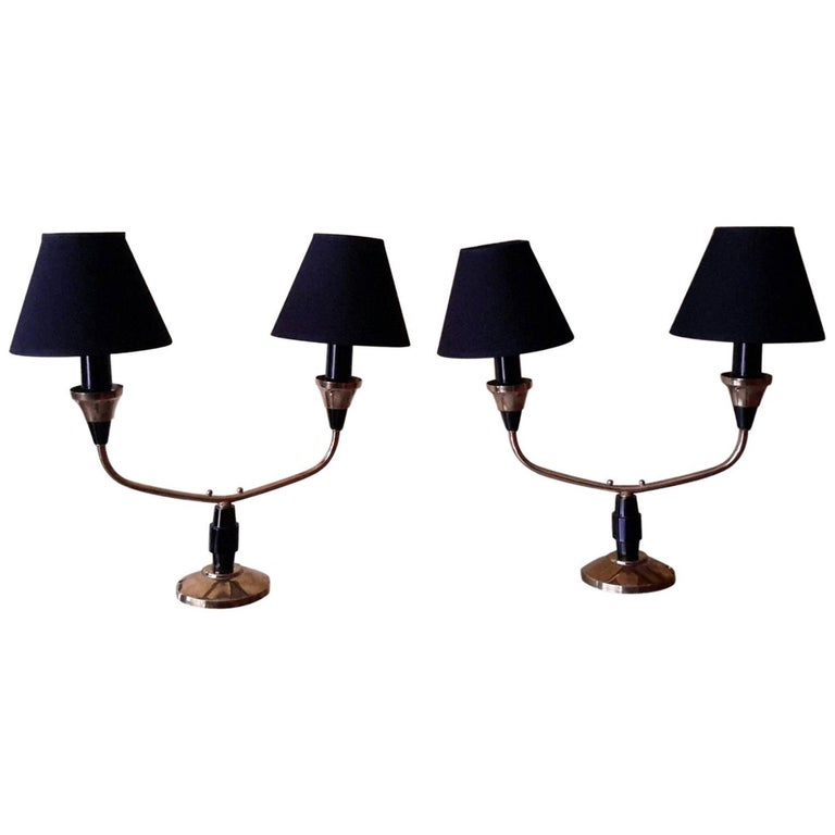 Mid-Century Modern Pair of Brass Table Lamps, France, 1950s