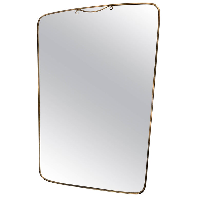 Midcentury Italian Mirror with Brass Frame