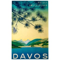 Swiss Travel Poster for Davos, circa 1949