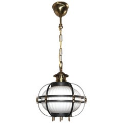 Rare Midcentury Modern Brass, Metal Cage & Glass Shade Design Pendant Light