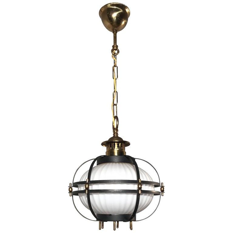 Rare Midcentury Modern Brass, Metal Cage & Glass Shade Design Pendant Light  For Sale