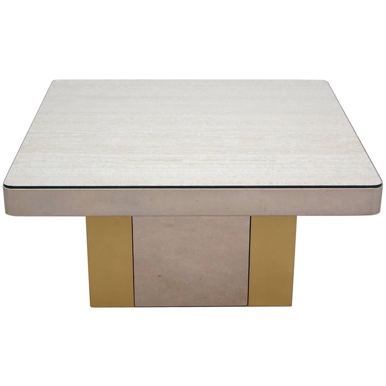 Postmodern Chrome And Brass Coffee Table For Sale At Stdibs - Post modern coffee table