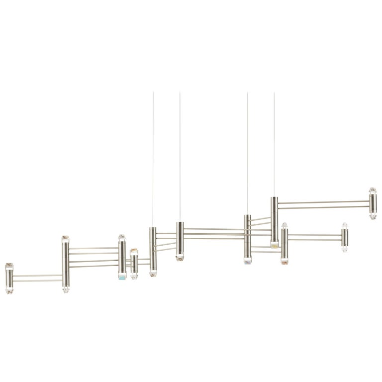 Aries XI.II Chandelier in Polished Nickel with Faceted Glass and LED lights For Sale