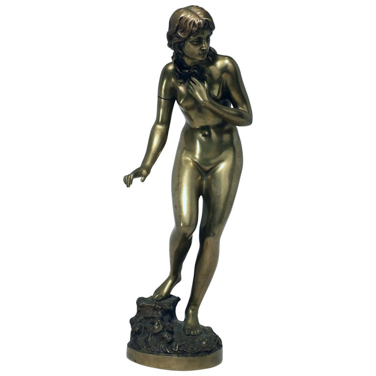 Standing Female Nude Bather, Bronze Signed Fullborn For Sale