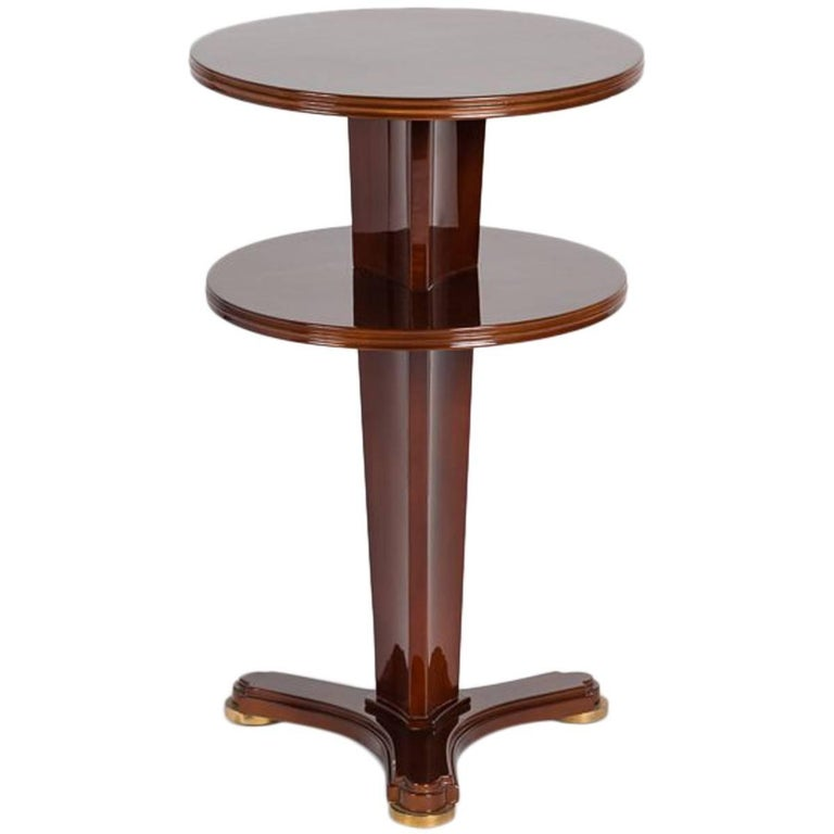 Maison Leleu Red Lacquered Two-Tier Side Table, France, circa 1947