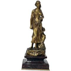 Edouard Drouot Study of a Young Woman, Gilt-Bronze