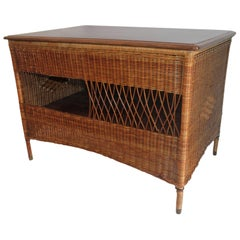 Wicker Work Table with Lift Top
