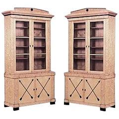 Pair of Swedish Biedermeier Ebonized and Maple Bookcase Cabinets