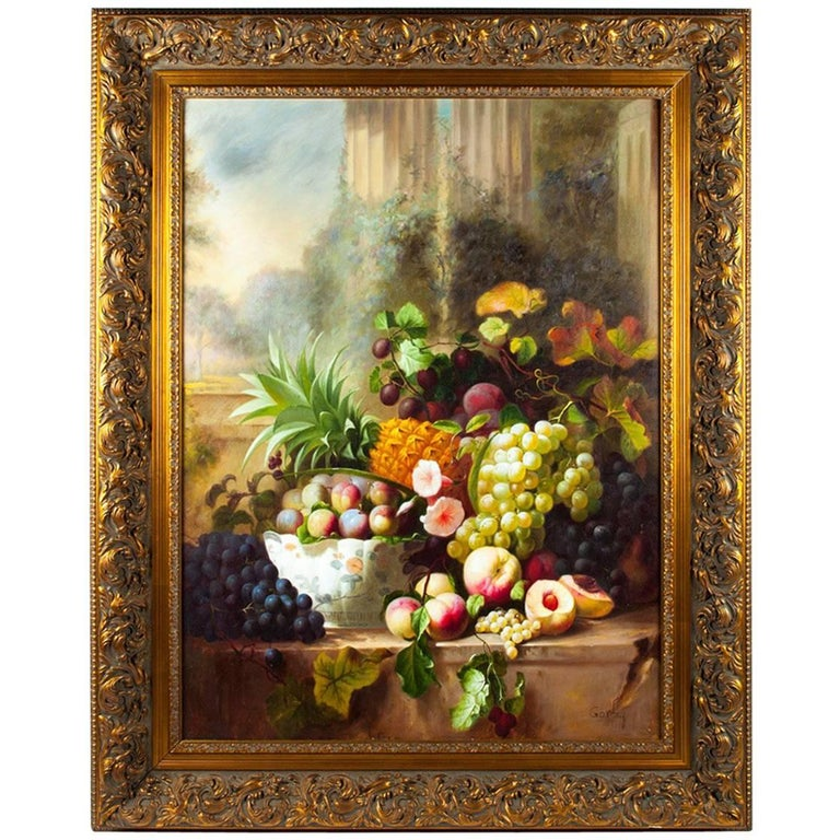 Ornately Framed Oil Painting Floral Bouquet Still Life For Sale