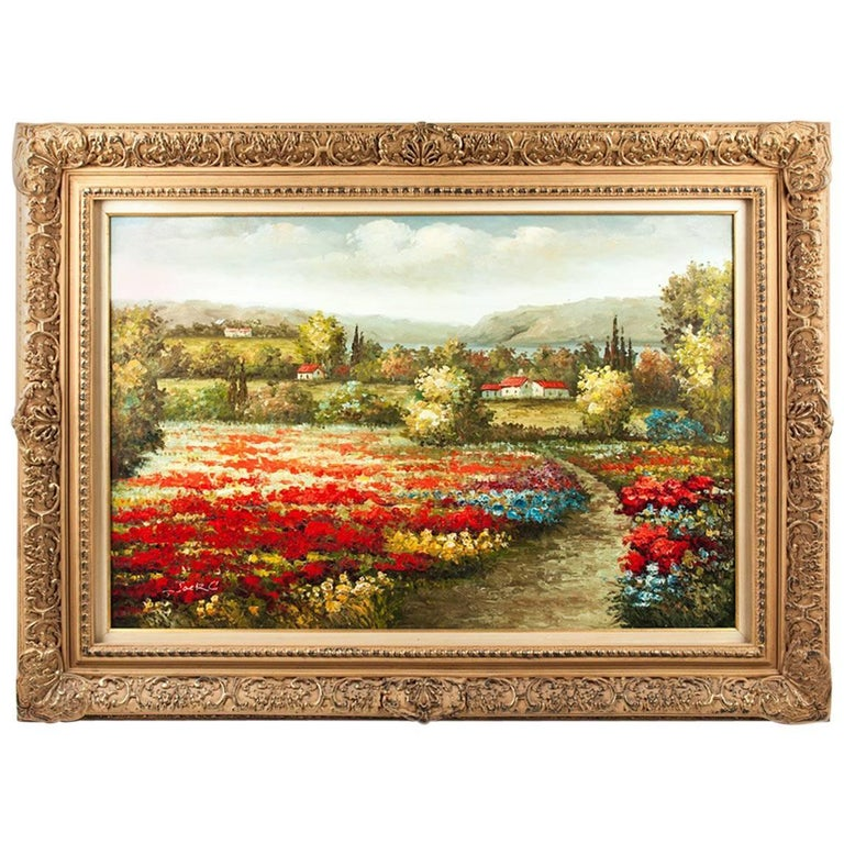 Mid-20th Century Wood Framed Oil Painting
