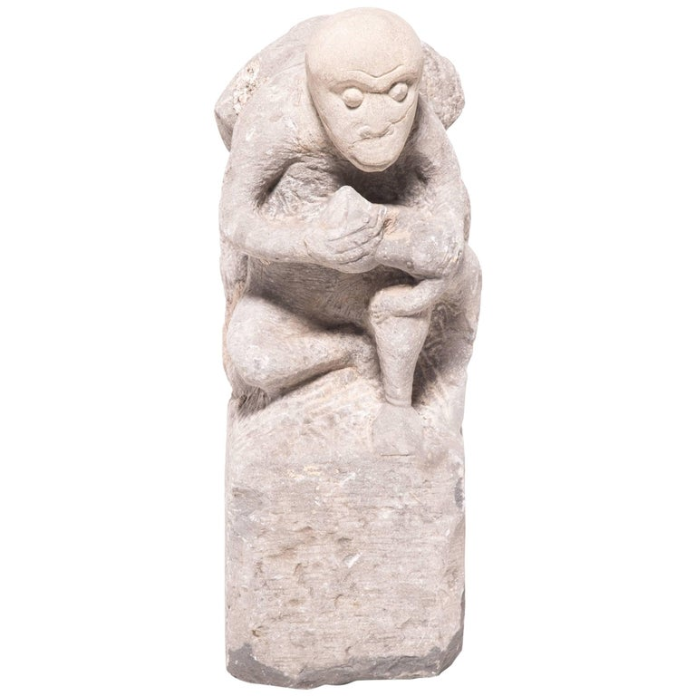 19th Century Chinese Stone Monkey and Peach Marker