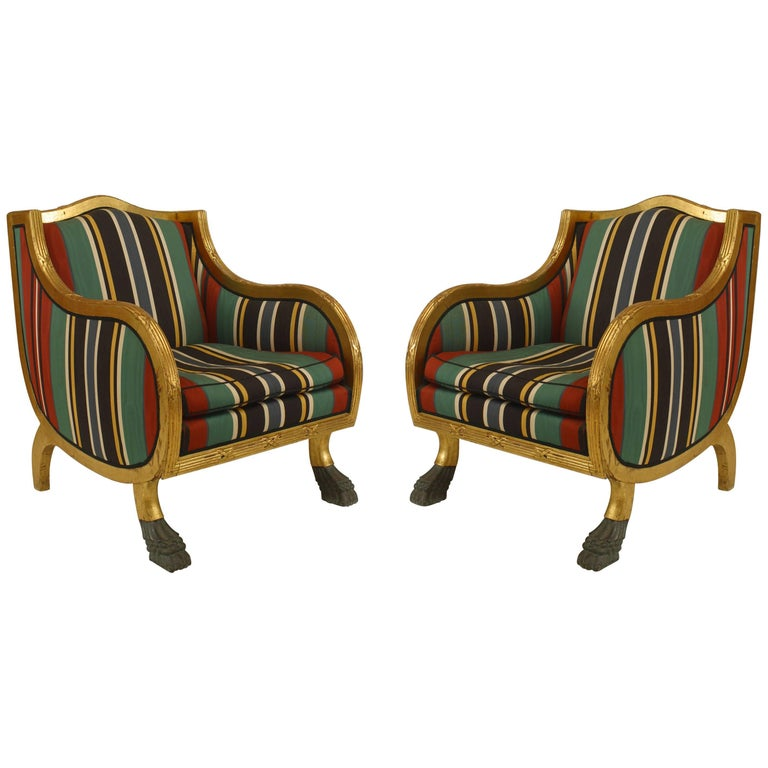 Pair of Swedish Empire Style 20th Century Gilt Club Chairs