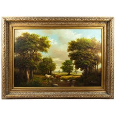 Large Vintage Gilded Wood Framed Pastoral Landscape Oil Painting