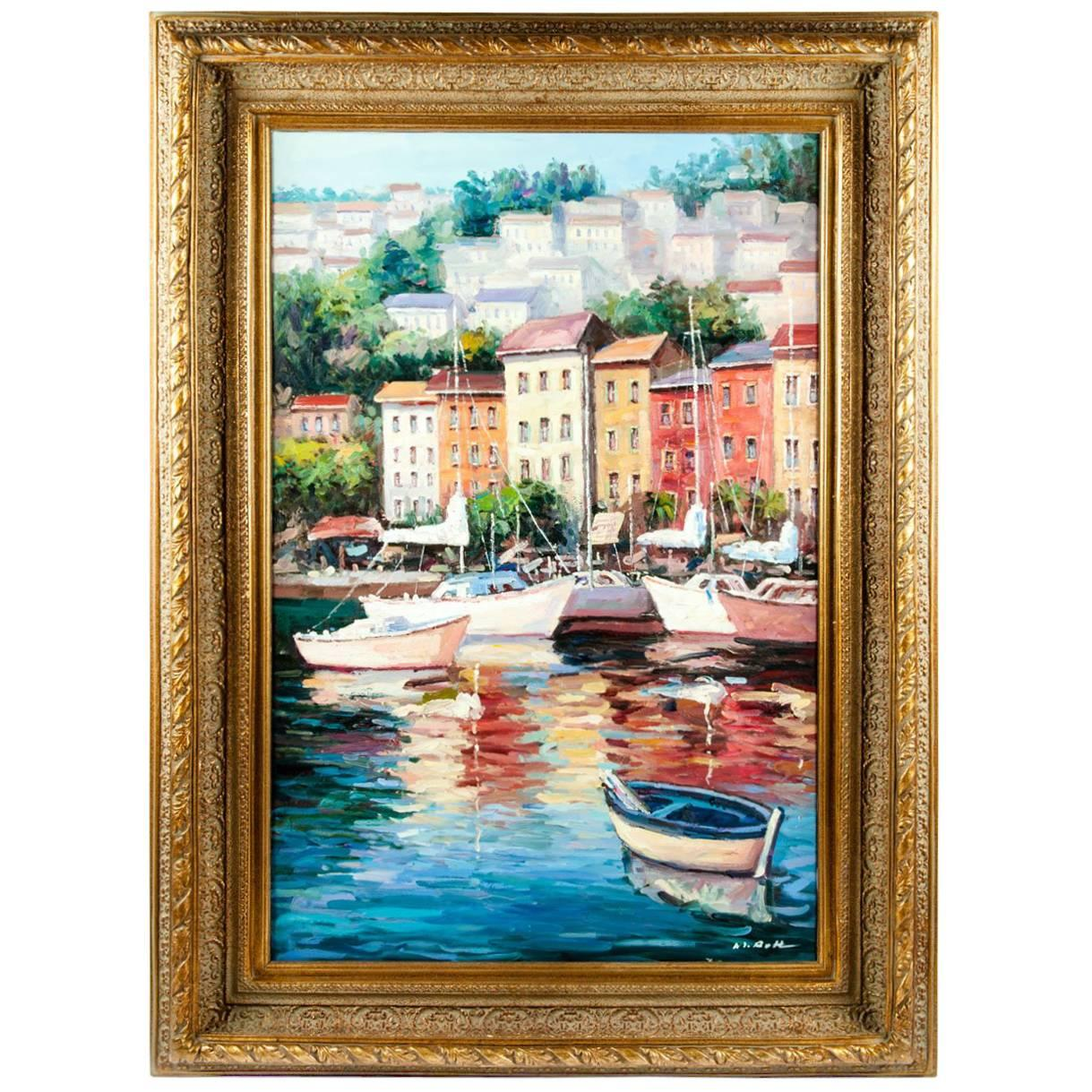 Gilded Wood Frame Oil on Canvas Decorative Painting