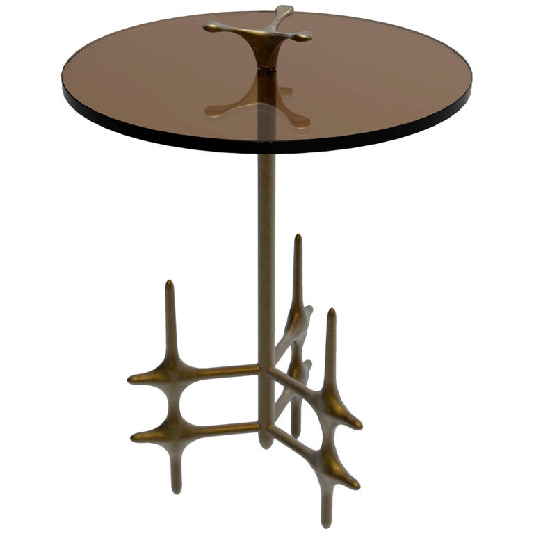 William Collins Collection Bronze and Glass Ico Drinks Table