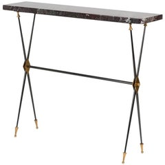 Maison Leleu, Rare Freestanding Console, Marble and Bronze, France, circa 1965