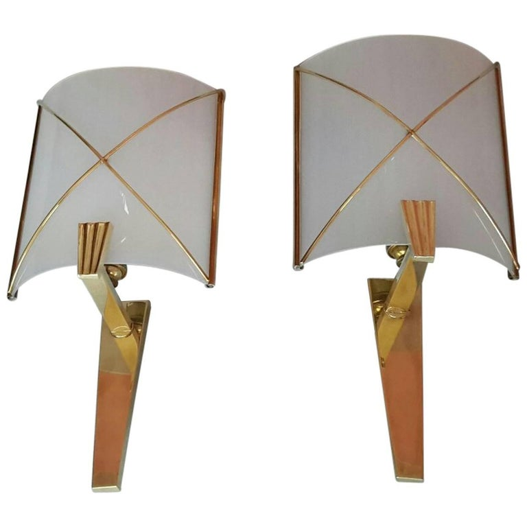 Mid-Century Modern Pair of Sconces by Lunel, France, 1950s