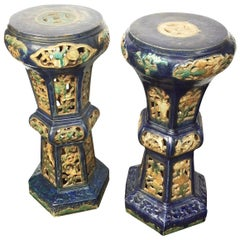 Pair of Antique Chinese Enameled Ceramic Pedestals