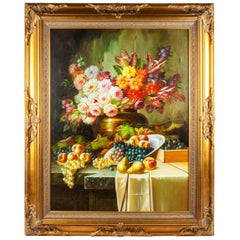 Ornately Gilded Wood Carved Framed Oil Painting Floral Bouquet Still Life