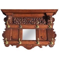 Antique Hand-Carved Neoclassical Revival Oak Wall Coat Rack with Mirror