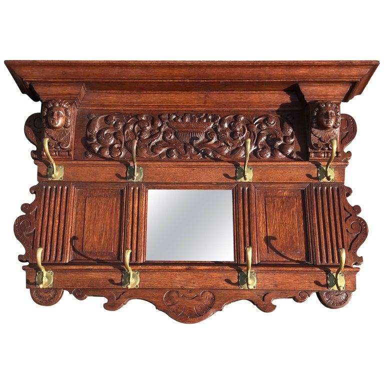 Antique Hand Carved Wood And Brass Coat Rack For Sale At 40stdibs Inspiration Antique Wooden Coat Rack