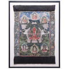 19th Century Tibetan Thangka with Seated Figure of Amytaus