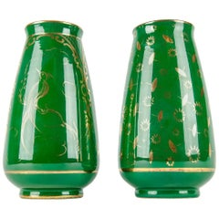 Vintage Pair of Italian Porcelain Decorative Vases