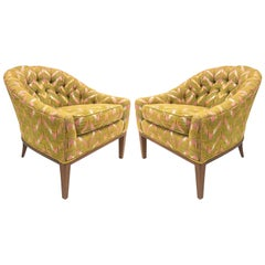 Pair of Mid-Century Modern Tufted Lounge Chairs