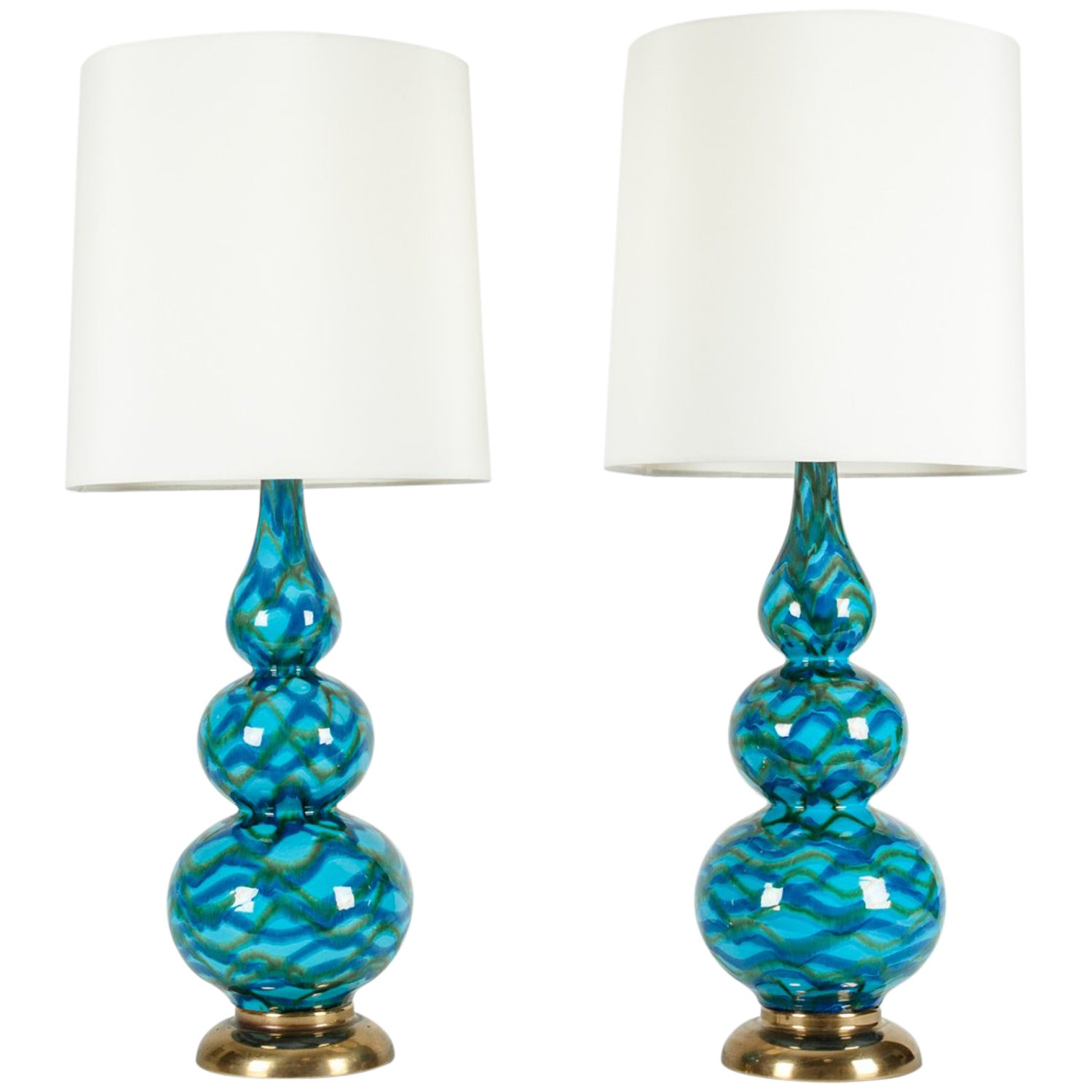 Vintage Porcelain Pair of Table Lamps with Brass Base