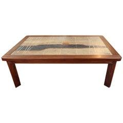 Italian Wood and Tile Coffee Table