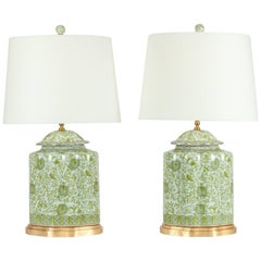 Midcentury Pair of Porcelain Table Lamps