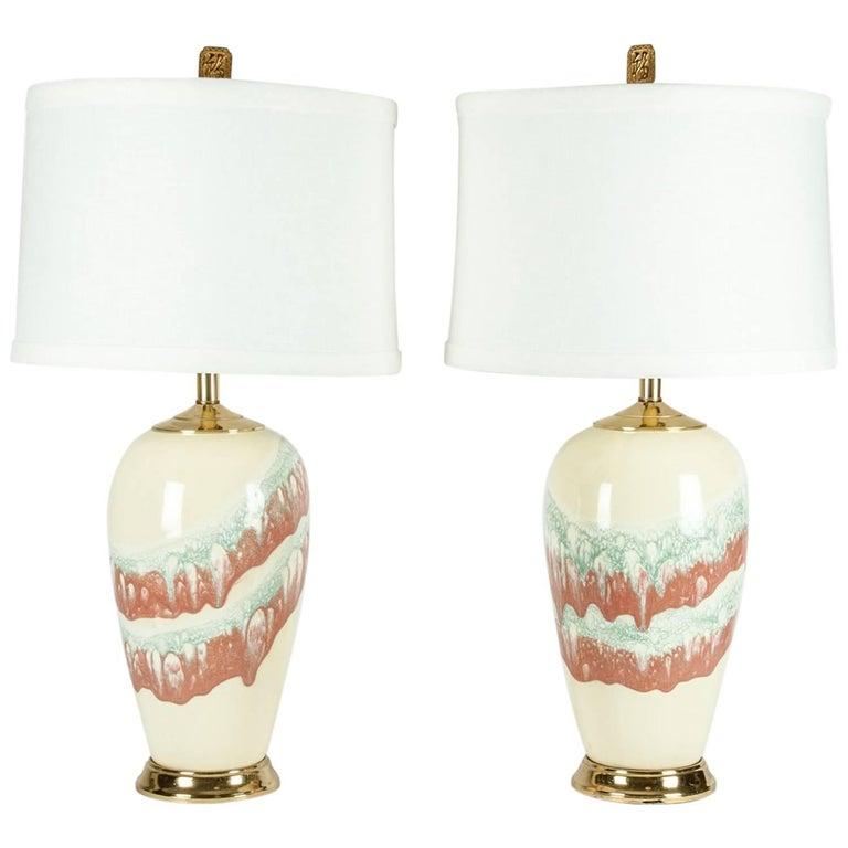 Vintage Porcelain Pair of Table Lamps