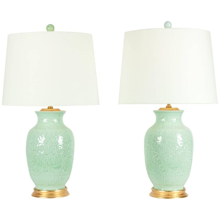 Midcentury Porcelain Pair of Table Lamps