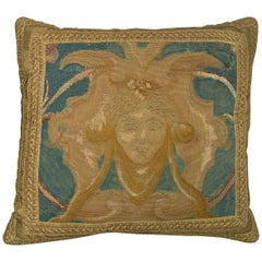 French Aubusson Tapestry Pillow, circa 1860 1457p