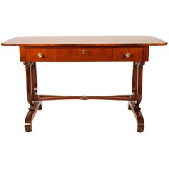 Vintage Mahogany Burl Wood Writing Desk or Console Table