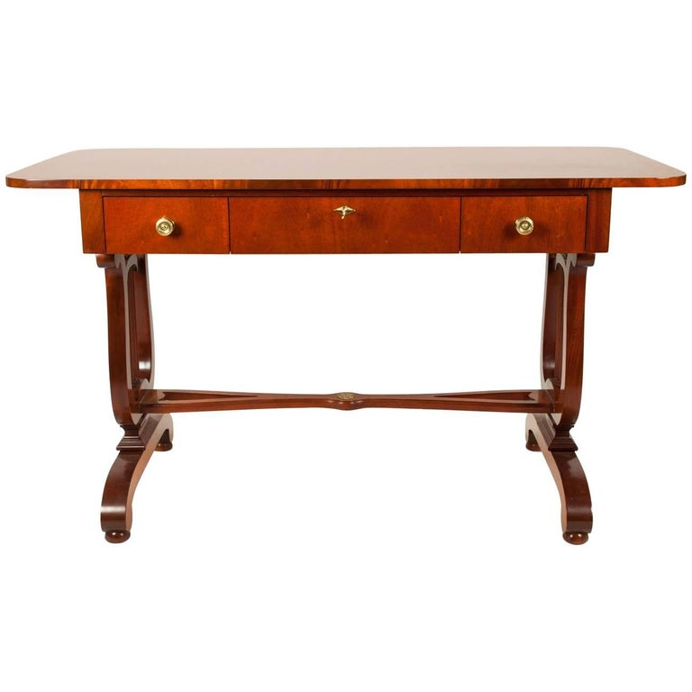 Vintage Mahogany Burl Wood Writing Desk Or Console Table For