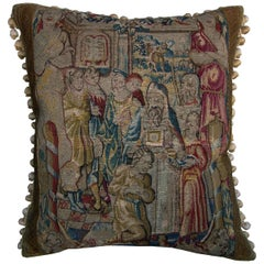 Flemish Antique Tapestry Pillow, circa 17th Century 46p