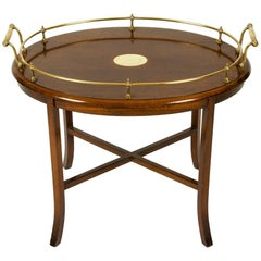 Vintage Mahogany Wood Brass Gallery Tray Top Oval Table