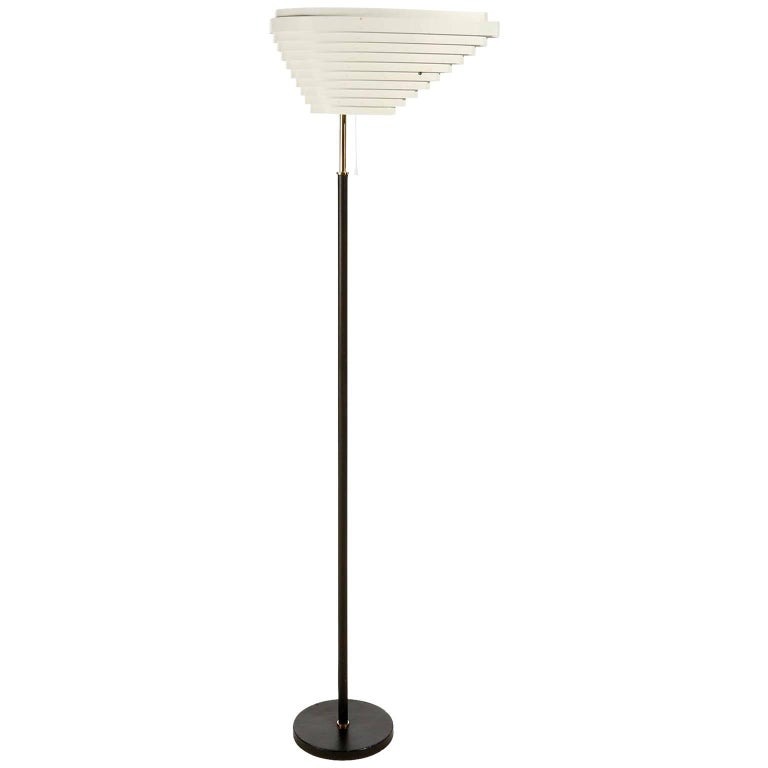 Alvar Aalto Floor Lamp Angel Wing A805, Black Leather Brass White Metal, 1954 For Sale