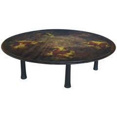 Monumental Round Églomisé Cocktail Table
