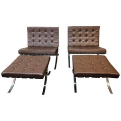 Pair of Knoll International Ludwig Mies van der Rohe Barcelona Chairs & Ottomans