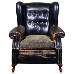 1920 Black Tufted Leather Lounge Chair