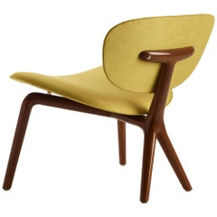 Rondine Armchair in Solid American Walnut with Fabric or Leather by Ceccotti